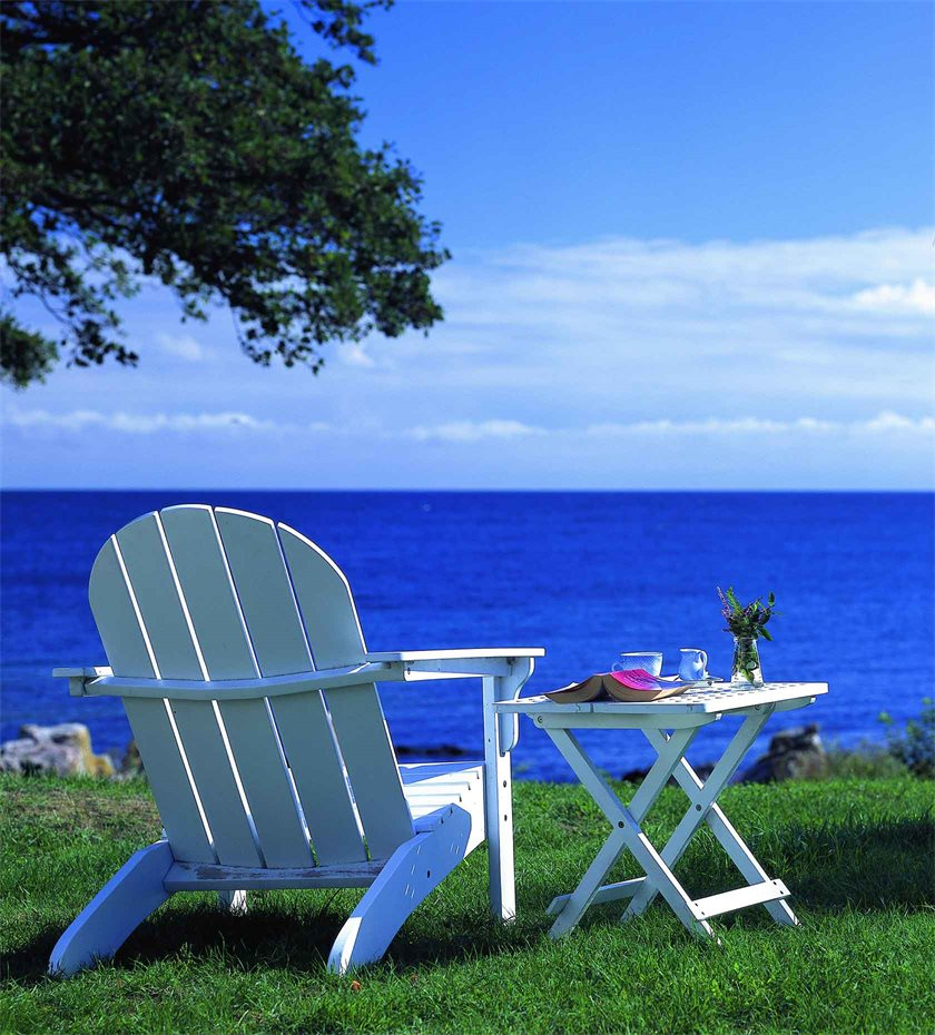 Beach hotels adirondack chairs at Melsted Badehotel