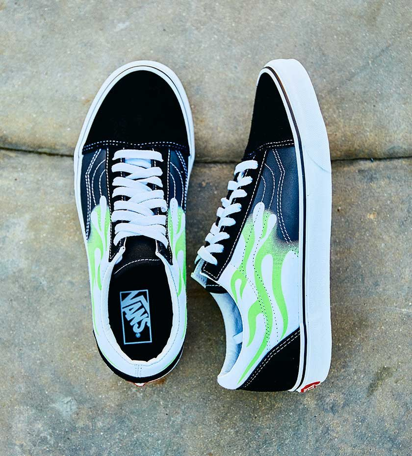 Vans Old Skool Green Flame